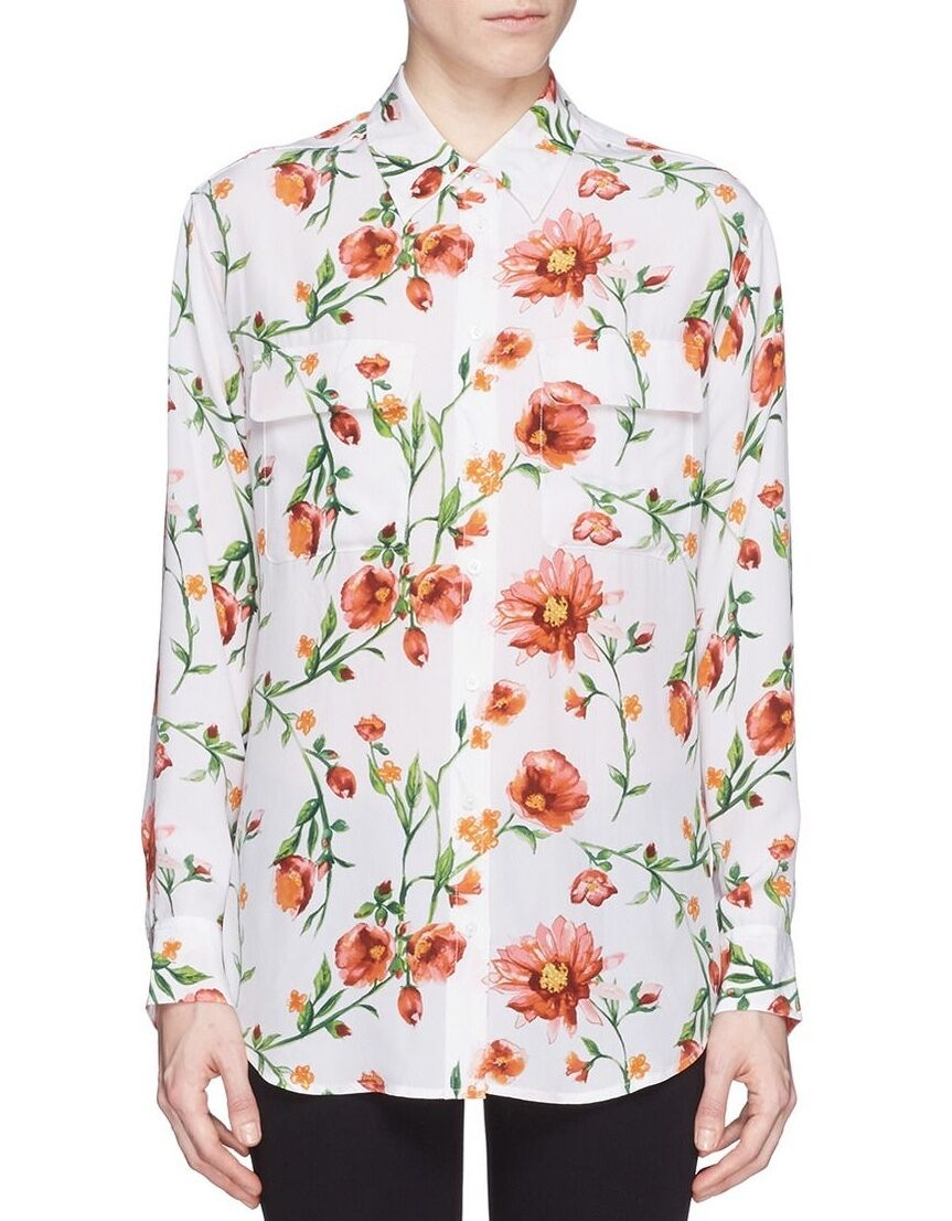 EQUIPMENT Signature Silk Shirt Blouse in Sunkissed Painted Wildflower Print XS