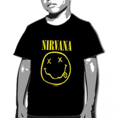 OFFICIAL Nirvana Smile Black YOUTH T-shirt NEW LICENSED Kids Merch All SIZES