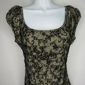 Vintage-Betsey-Johnson-Black-Illusion-Lace-Stretch-Dress-8-Ruched-Cap-Sleeves