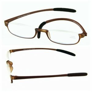 Half Frame Glasses Brown : Brown TR90 Light Half-Frame Reading Glasses Reader+1.0 +1 ...