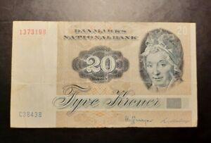 1972 - Danmarks Nationalbank, Denmark - 20 Kroner Banknote, Serial No. C3843B