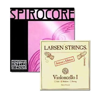 YDC Cello Strings  Set 4/4 Spirocore Tungsten G,C -Larsen Soloist A,D Medium