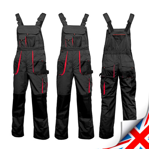 Overalls Mens Work Trousers New Bib and Brace Knee Pad Dungarees Multi Pockets.