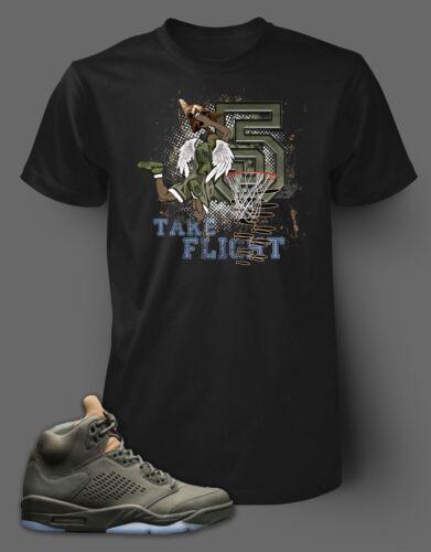 T Shirt to Match Air Jordan 5 Sneaker Take Flight Pro Club Graphic Black Tee SS
