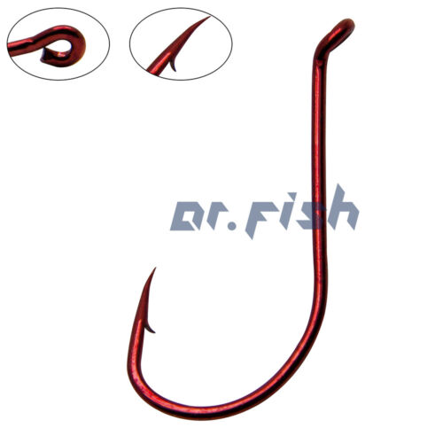 50//100X Fishing Octopus Hooks Red Barbed Sharp Off-shore Sturgeon Shark Trout