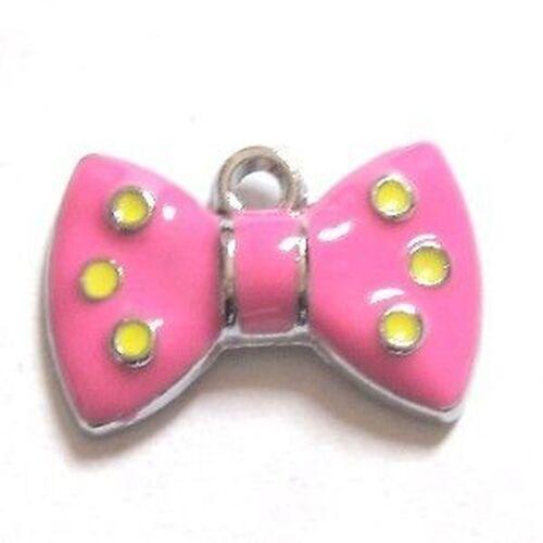 5 pieces pink polkadot bow charm Zinc Alloy Enamel Charm Pendants A0112