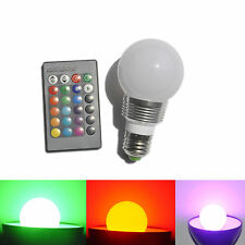 E27 RGB 3W 16 Colors LED Change Lamp Light Bulb+24 key IR Remote Controller New
