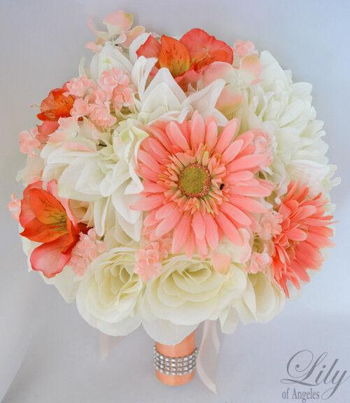 17pcs Robe de Mariage Bouquet Soie Décoration Fleur Paquet Corail Pêche Orange