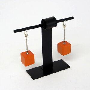 Paar-orangefarbene-Ohrringe-Earrings-Bakelit-30er-Jahre-ART-DECO