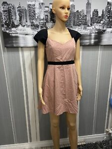 Women-s-Miss-Selfridge-Black-Sleeved-Pink-Dress-Size-10-New-Without-Tags