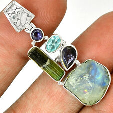 Moonstone Rough & Green Tourmaline Rough 925 Silver Pendant PP20659
