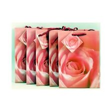 Lot 5 Red Rose Gloss Paper Gift Shopping Bags  6.5x5X2.5 New