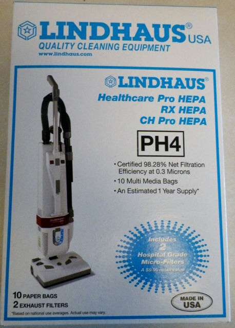 Genuine Lindhaus HealthCare Pro RX CH Hepa PH4 Vacuum Cleaner 10 Bags 2 Filters