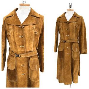 Vintage-VTG-1970s-70s-Brown-Suede-Trench-Jacket-Coat