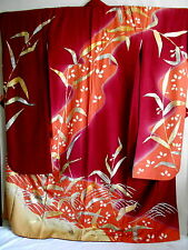 "Japanese kimono ""FURISODE"" long Sleeves,Mandarin duck, silver.gold leaf, 66"",322"