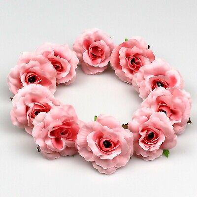 10//100Pcs Pink Silk Artificial Roses Flower Heads Bulk Fake Rose Wedding Bouquet