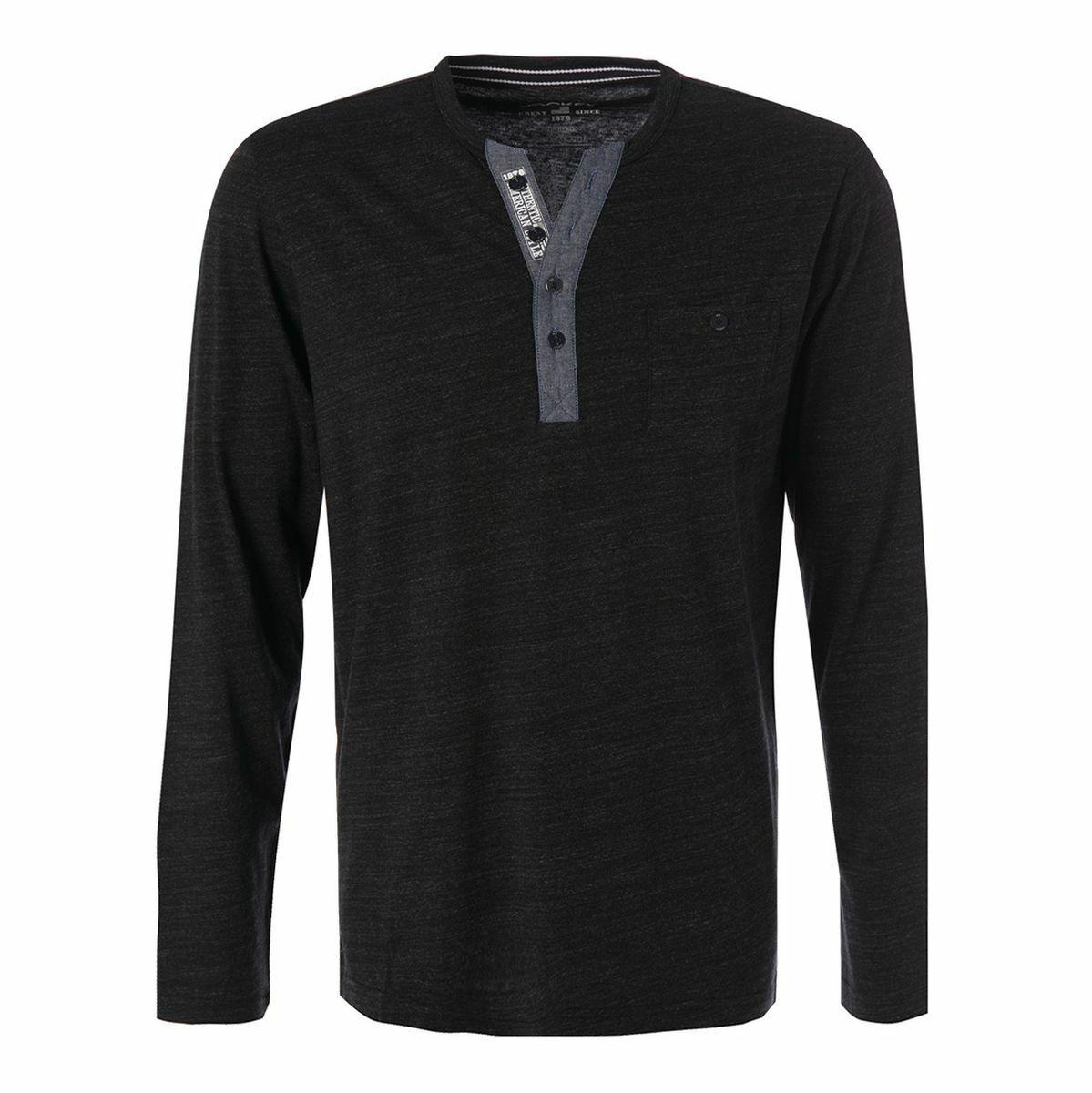 XXl Jockey Langarm Shirt Knopfleiste schwarz meliert 2XL 3XL 4XL 5XL 6XL NEU