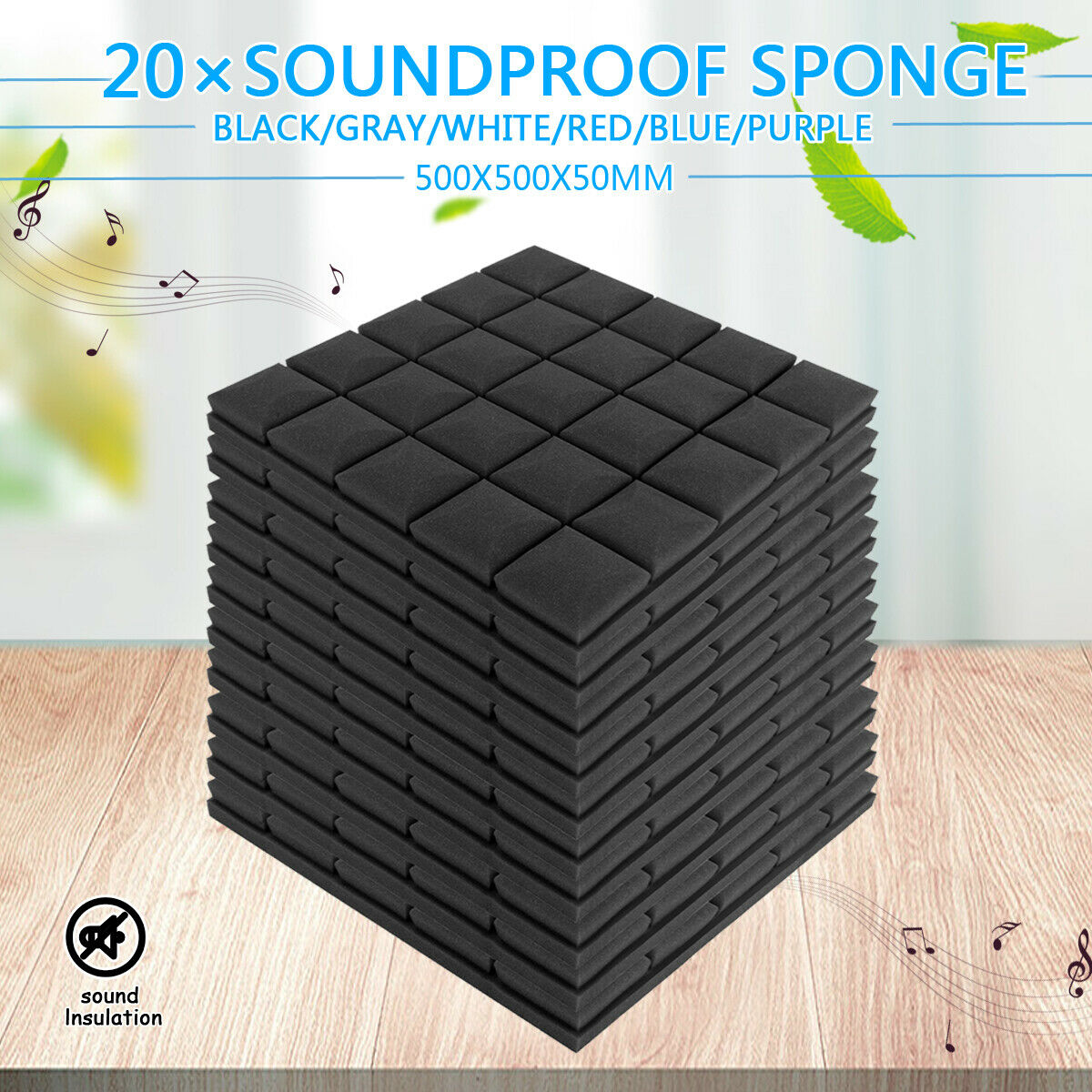 20Pc Mushroom Acoustic Foam Sound Stop Absorption Sponge Soundproof Foam Panels