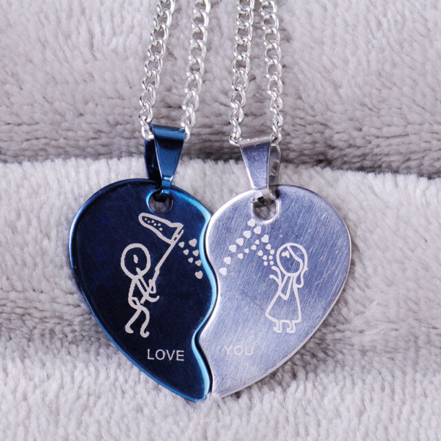 1b0b74efe5 Stainless Steel Two Color His Hers Heart-Shaped Love You Couple Pendant  Necklace