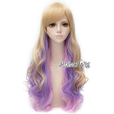 80cm Cosplay Perücke Wig Harajuku Ladieshair Halloween Mixed Lila&Blond Layered