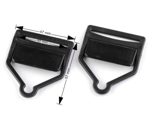 1 pair of Plastic Dungaree Clips Fastener in Black Suspender Overall Clip 2pcs