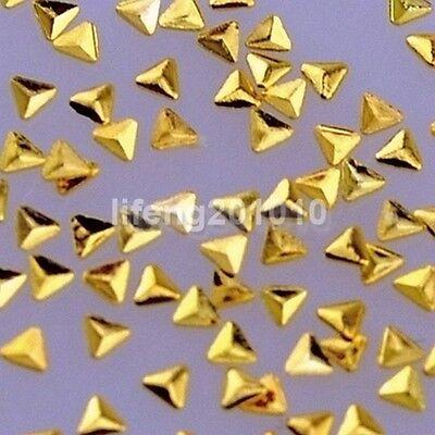 100PCS Gold Silver 3D Metal Nail Art Rhinestones Studs Decoration Tools Triangle