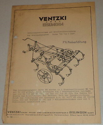 Other Tractor Publications Tractor Manuals & Publications Operating Instructions Ventzki Schleppergrubber Brand Ng 140-260 Stand 03/1955