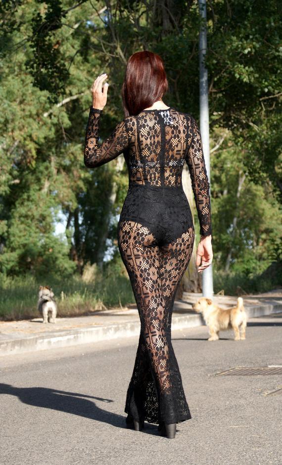 Tuta Intera damänner Nera Pizzo Acrilico Sexy Tg S M - L XL Boho Catsuit Jumpsuit