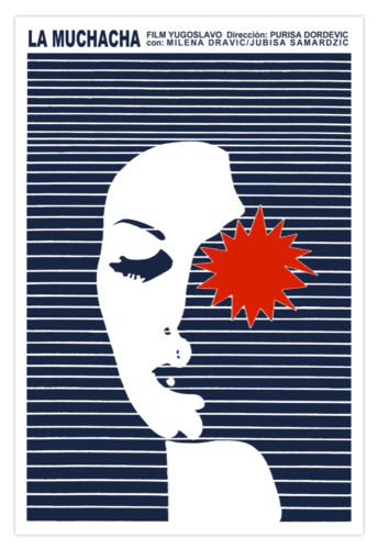 "Movie Poster for film/""La MUCHACHA/""The Girl.Blue stripes design.Modern art decor"