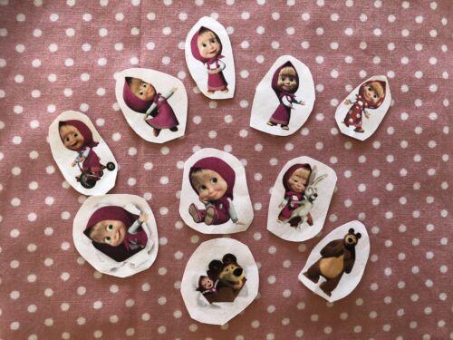 1 juego de Masha y el oso telas brillantes transferencia hoja hierro en parches ropa de la muñeca