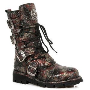 New Rock Schuhe Gothic Stiefel Boots Leder M.1473-S42 Vintage Flower Rot Brokat