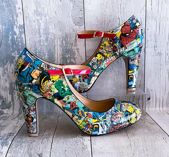 Marvel Decoupage Schuhes. Retro UK Marvel Hand Customised. UK Größes UK Retro 3-8 c2f082
