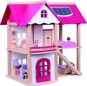 Kids S Wooden Dolls House Children Furniture Cottage Toy Town