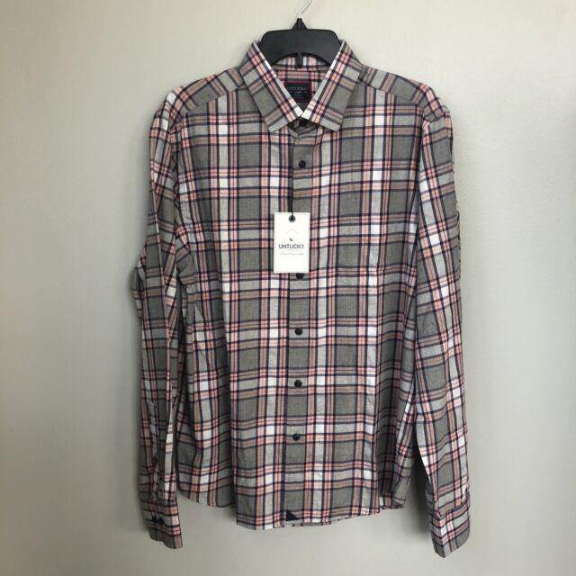 UNTUCKIt large slim rousseau long sleeve shirt plaid check gray white pink New