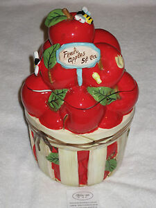Jolly-Gee-Fresh-Apples-5-Cents-Ceramic-Cookie-Apple-Jar-Apples-Bees ...