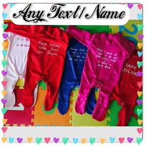 Personalised-Your-Text-Embroidery-Baby-Grow-Bodysuit-Birthday-Christmas-Gift