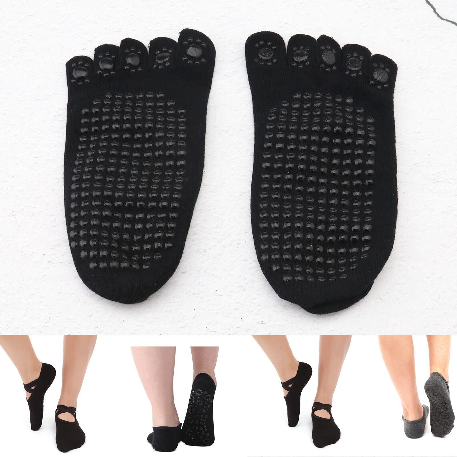 Grau +Schwarz 2 Paar Anti-Rutsch Yoga 5 Zehen Socken Ideal für Pilate Outdoor