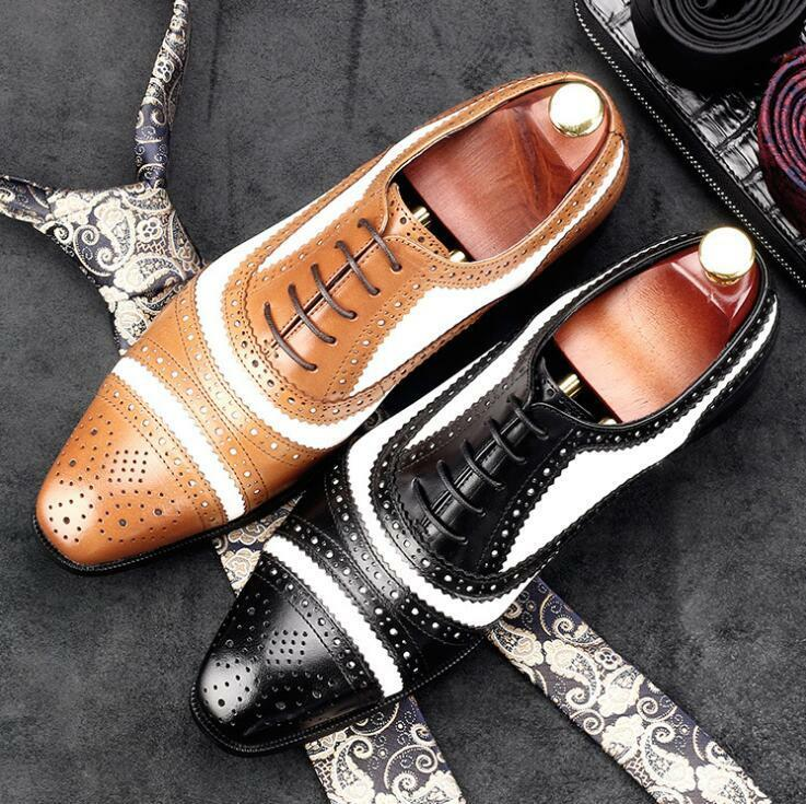 Men's British Retro Carved Wing Tip Oxfords Formal Business Leather Shoes Y428