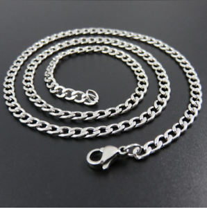NEW-Stainless-Steel-4mm-Mens-amp-Womens-Silver-Curb-Chain-16-034-to-30-034-Necklace
