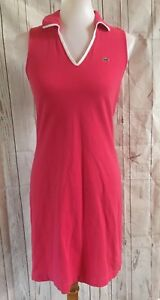 Lacoste-Polo-Style-Shirt-Dress-Preppy-Size-38-France-Small-0-2-4-Pink