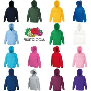 Fruit-of-the-Loom-Classic-80-20-Boys-Girls-Hoodie-Hooded-Sweatshirt