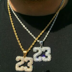 MEN-Stainless-Steel-Number-23-Pendant-amp-Rope-Chain-Necklace