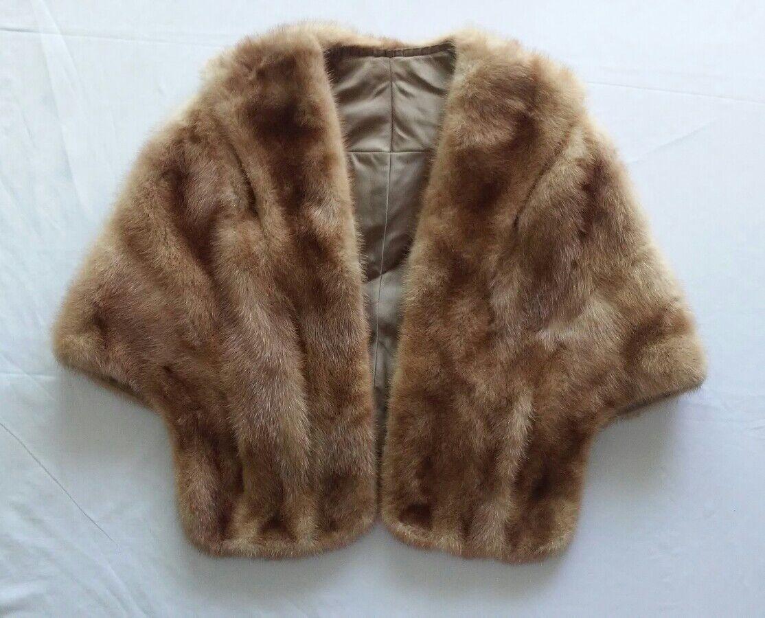 Women's Natural Brown Shoulder Fur Wrap Cape
