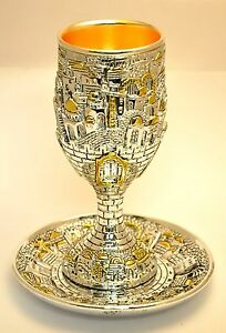 Great-For-Gift-Shabbat-Kiddush-Cup-amp-Plate-In-Gold-amp-Silver-Plated