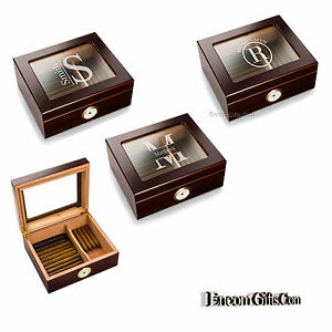 Personalized-DESKTOP-CIGAR-HUMIDOR-Wood-w-Glass-Top-Mahogany-Finish-Humidifier