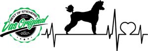 Caniche du rythme cardiaque Autocollant ca199x94mm Chien STICKER TUNING DOG v Couleurs
