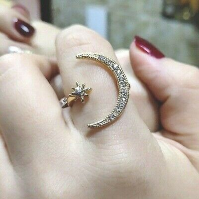 925 Silver Crescent Moon and Star Ring Adjustable Jewelry Gold Zircon Gift