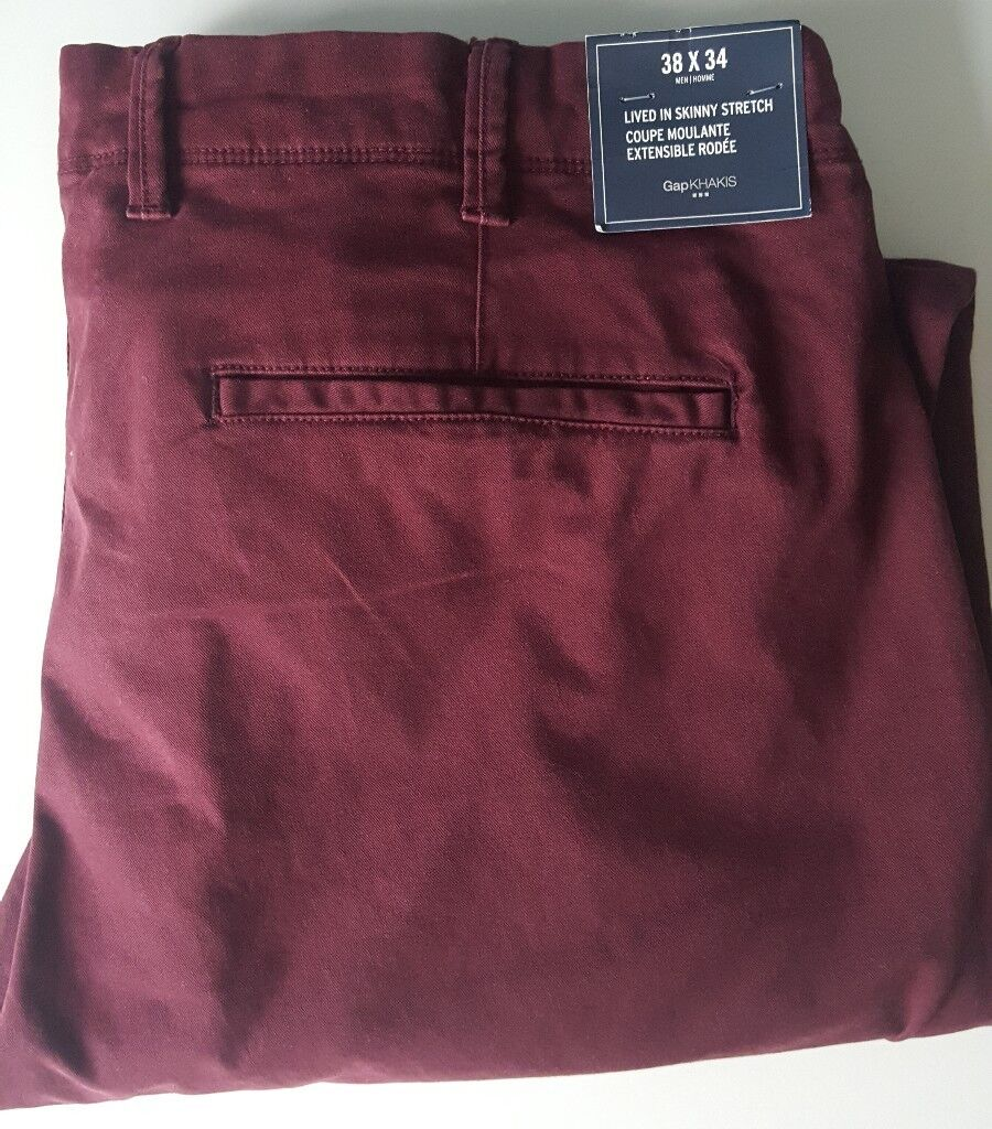 Gap Trousers New W38 L34 burgundy beetroot colour