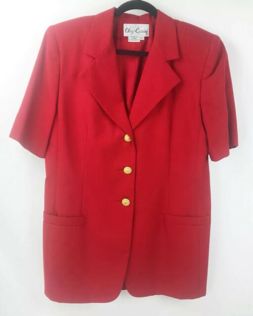 Oleg Cassini Red Blazer Career Suit Short Sleeve Size 16 Red With Pockets