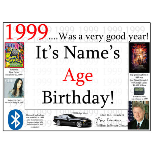 """Age 21 FACTS FROM /""""1999/"""" PERSONALIZED DOOR POSTER BANNER Happy 21st Birthday"""